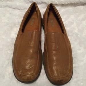 Nicole Natural tan leather loafer heeled  flats